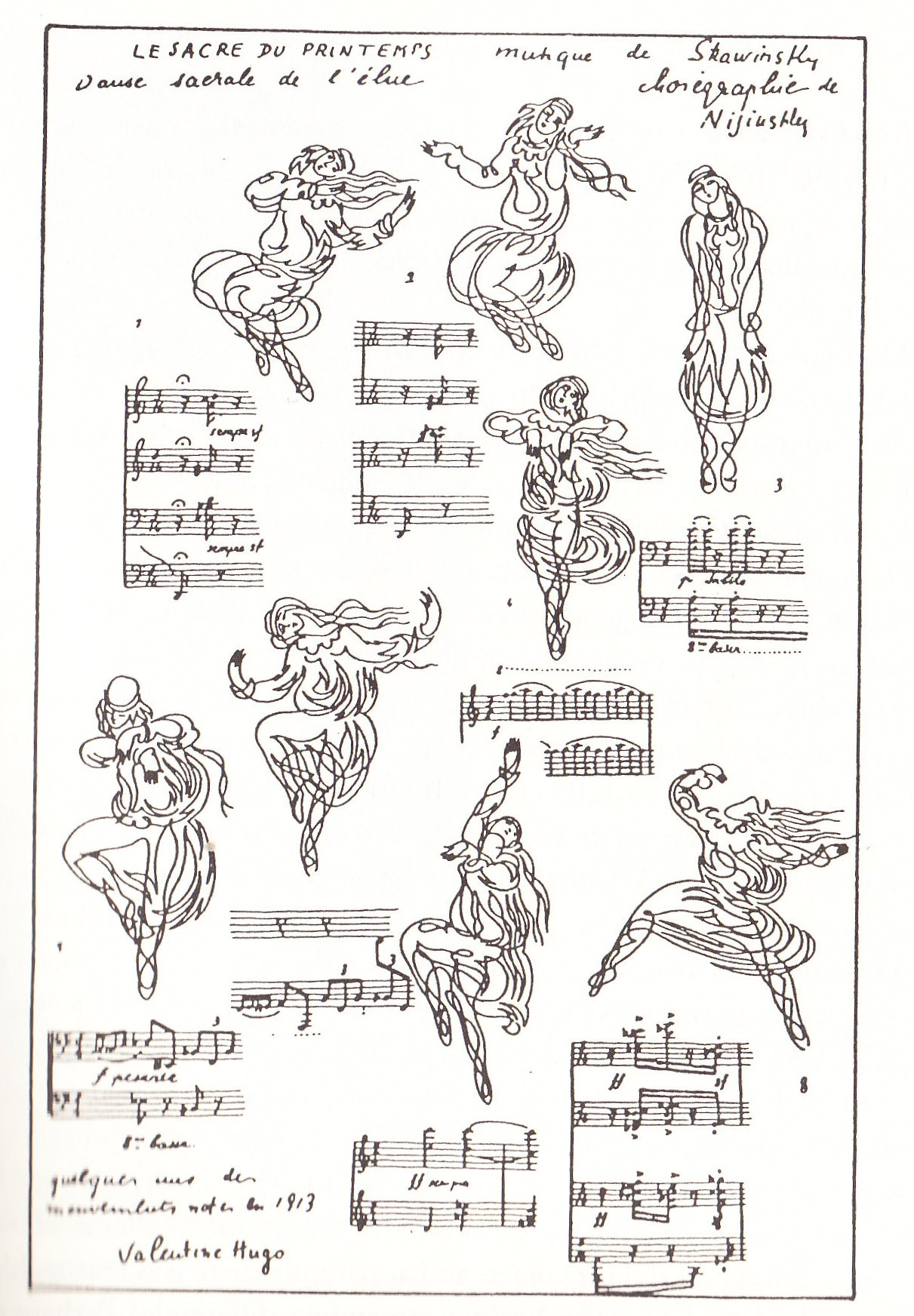 "Drawing of Marie Piltz in the ""Sacrificial Dance"" from The Rite of Spring, Paris, 29 May 1913 (source: wiki)"