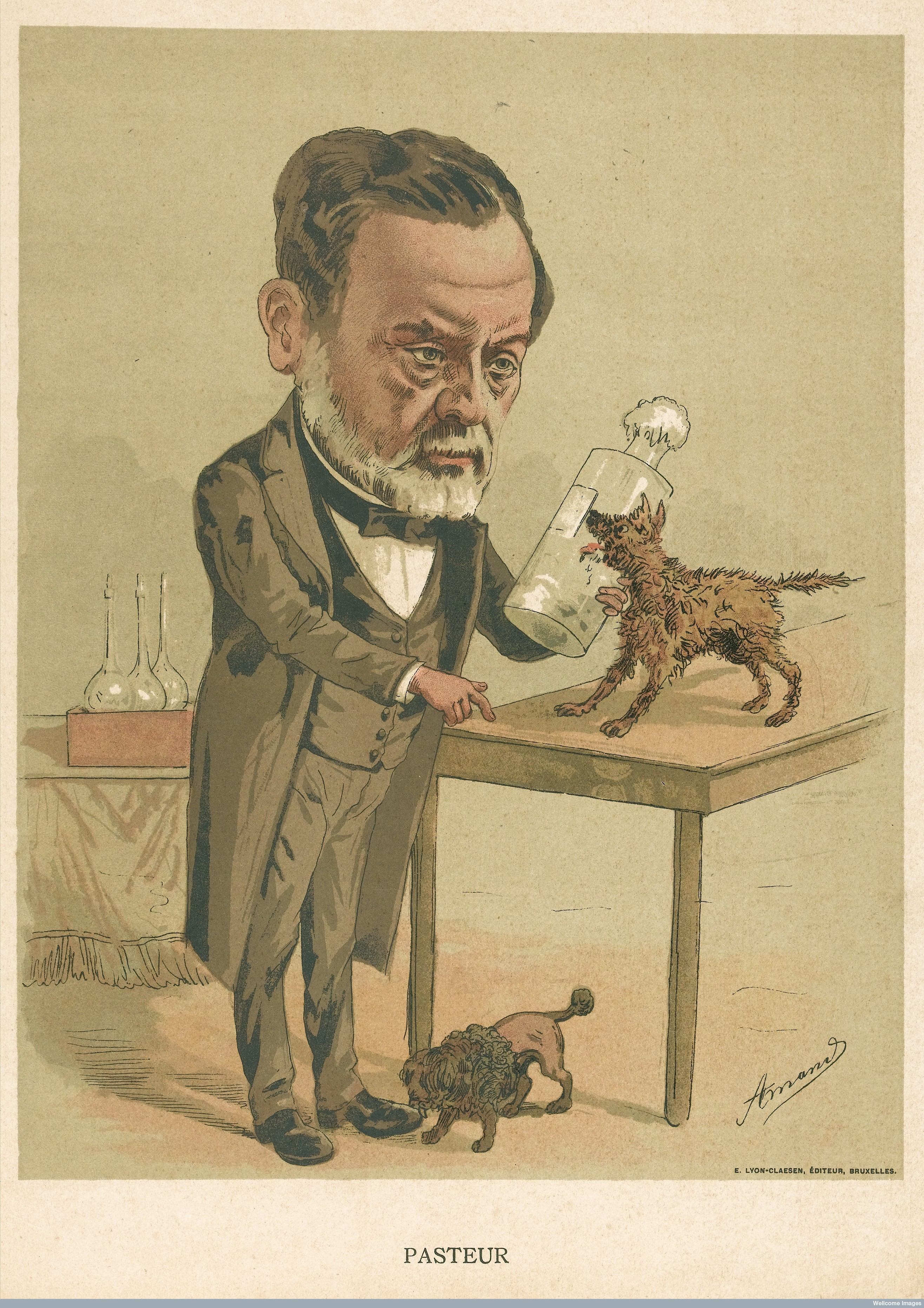 圖七 L0042493 Louis Pasteur. Colour lithograph by Amand